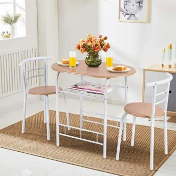 ARLIME 3-Piece Dining Table Set, 2 Chairs and Round Table
