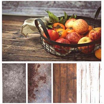 Bcolorpic Wood Photography Backdrop Paper 4 Pack Kit