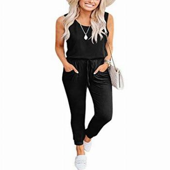 Caracilia Womens Sleeveless Jumpsuits Sexy Scoop Rompers