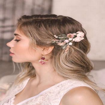 Excited to share this item from my shop: Flower Hair comb, Gold Bridal hair comb, Blush Wedding hai