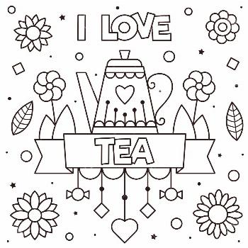 I love tea. Coloring page. Vector illustration. Stock Photo ,