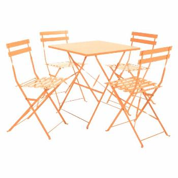 The Parc orange metal folding garden table and 2 chairs set is perfect for even the smallest of out