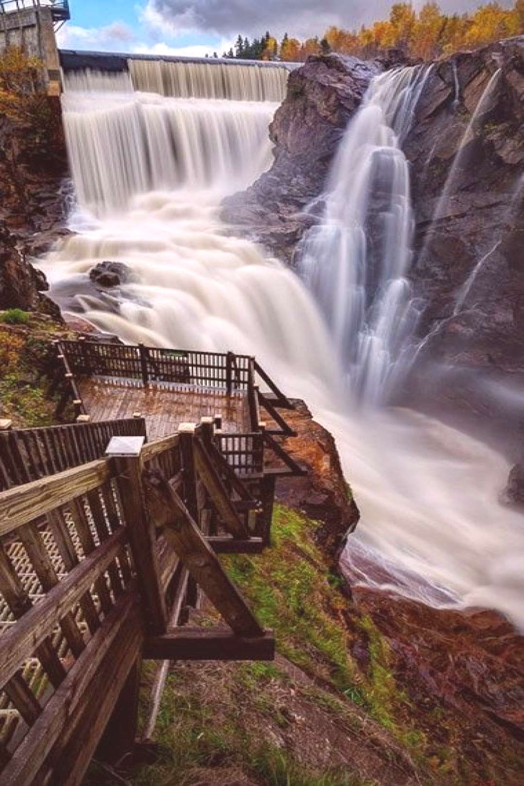 The Broadmoor Seven Falls in Colorado Springs is a series of seven cascading waterfalls, reaching a