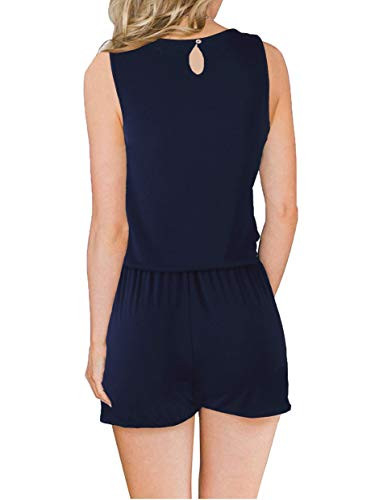 Womens Summer Solid Casual Sleeveless Rompers Jumpsuits